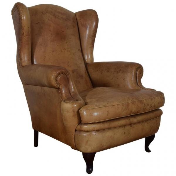 Leather Poltrona Frau Wing Chair