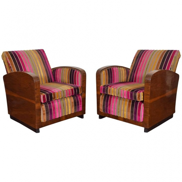 Pair of Walnut Veneer and Upholstered Club Chairs