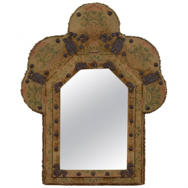 Queen Anne Style Upholstered Mirror