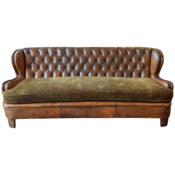 Tufted Leather Upholstered Sofa