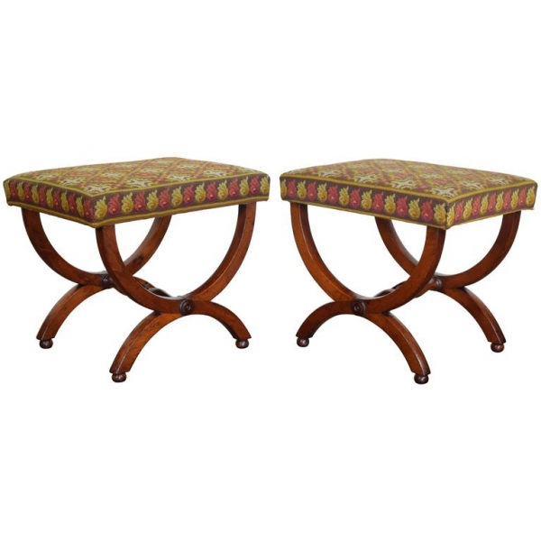 Pair of Walnut Curule-Form Benches