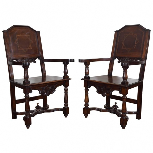 Pair of Walnut and Inlaid Turned Wood Armchairs