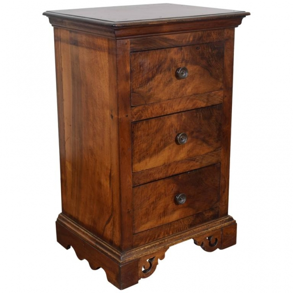 Tall Walnut 3-Drawer Commode