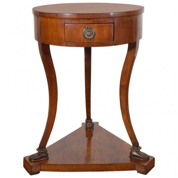 "Unusual Light Walnut Circular 1-Drawer ""Footed"" Table"