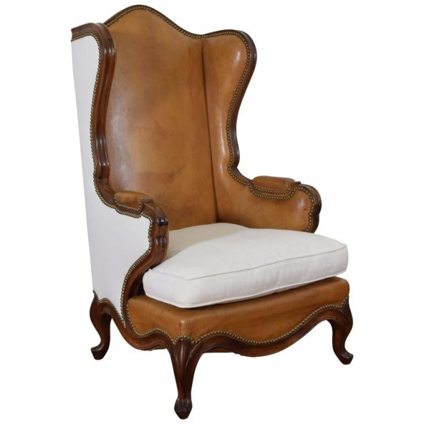 Walnut, Leather, and Linen Upholstered Bergere