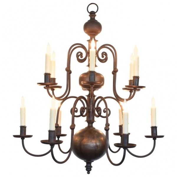 12-Light Steel Chandelier, UL Wired