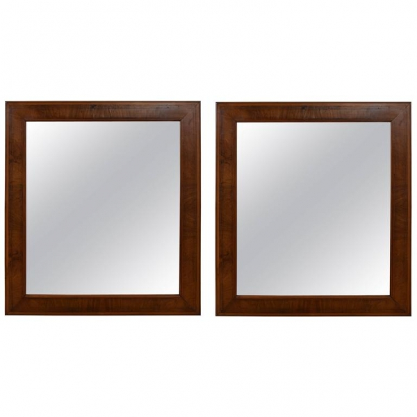 Pair of Walnut and Band Inlaid Mirrors
