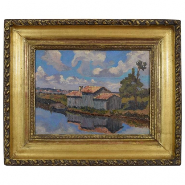 Oil on Board, House on a Lake with Distant Village