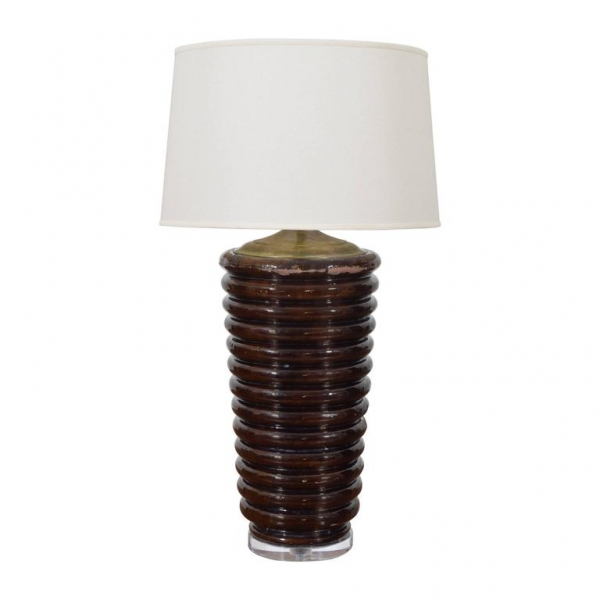 Large Dark Glazed Terracotta Decorative Vase Mounted as a Table Lamp