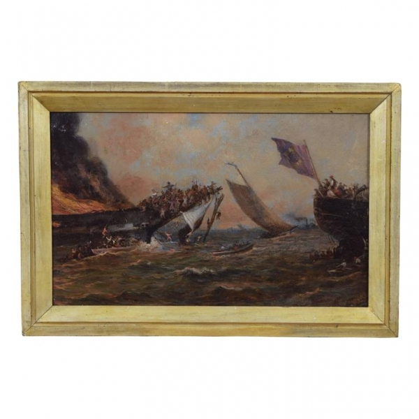 "Oil on Board, ""A Battle at Sea"""