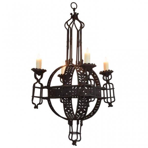 Large Wrought Iron 4-Light Orb Chandelier, UL Wired/Listed