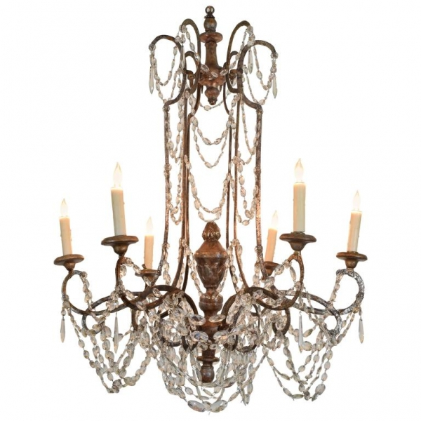 Silver Gilt Iron and Wooden 6-Light Chandelier