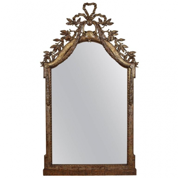 Exceptional Carved and Silvered Wooden Mirror
