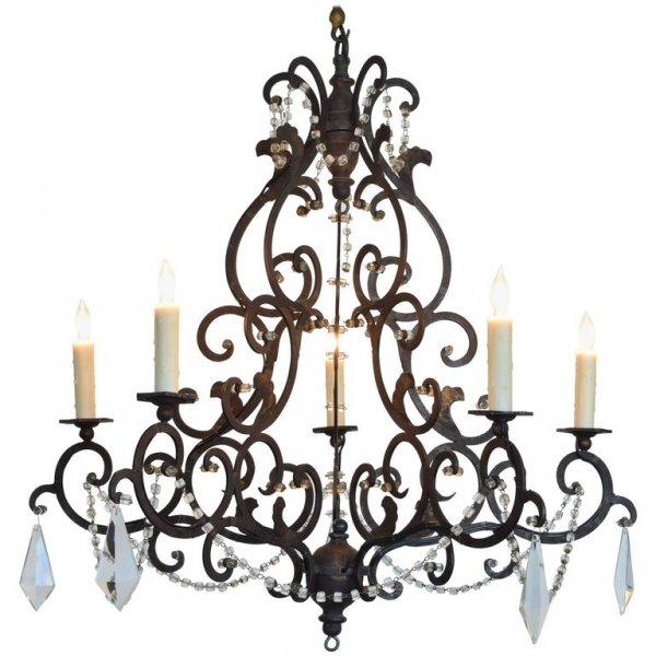 Wrought and Gilt Iron 5-Light Chandelier