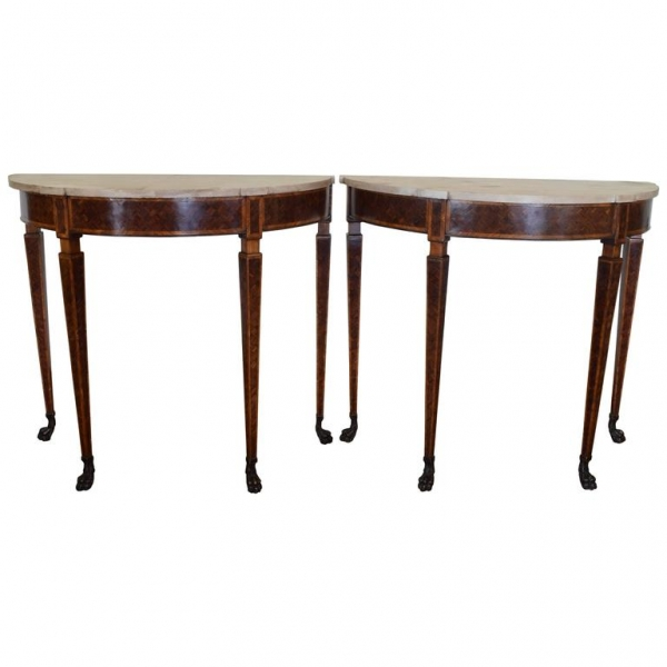 Pair of Demilune Console Tables with Marble Tops
