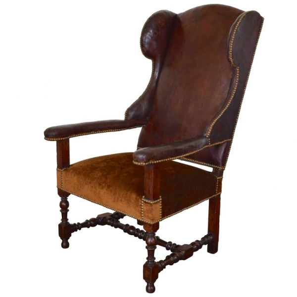 Leather and Velvet Upholstered Fauteuil
