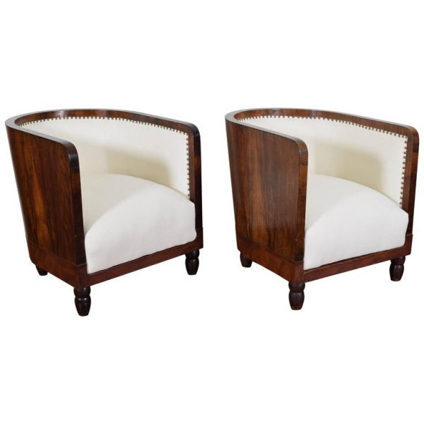 Pair of Walnut and Upholstered Barrel Chairs