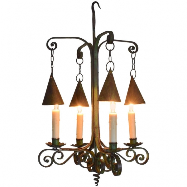 Wrought and Green Painted Iron 4-Light Chandelier