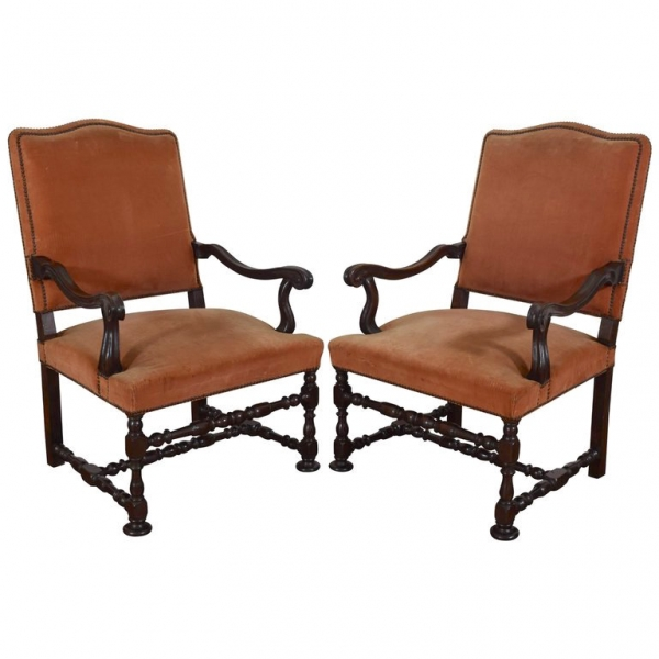 Pair of Walnut and Upholstered Armchairs