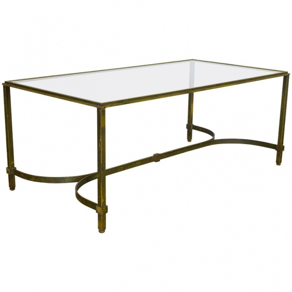 Painted Iron and Glass-Top Coffee Table