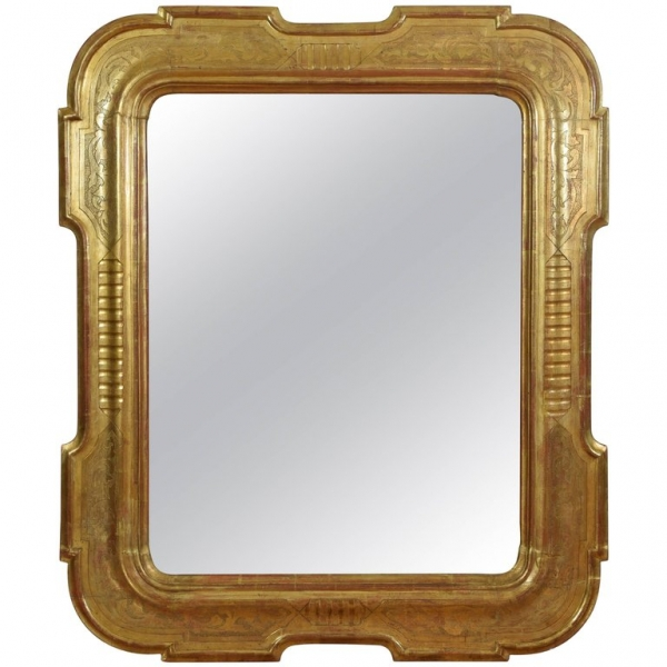 Shaped, Carved and Stencil Giltwood Mirror