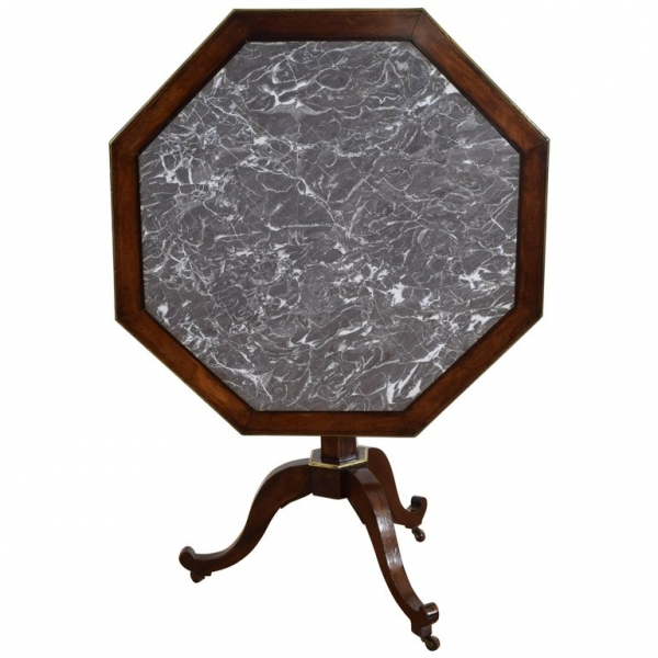 Mahogany, Brass, and Marble Tilt-Top Table