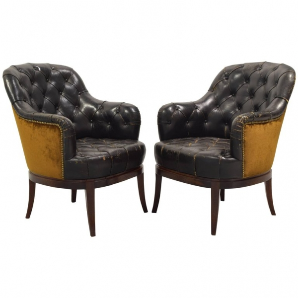 Pair of Tufted Leather and Velvet Upholstered Bergeres