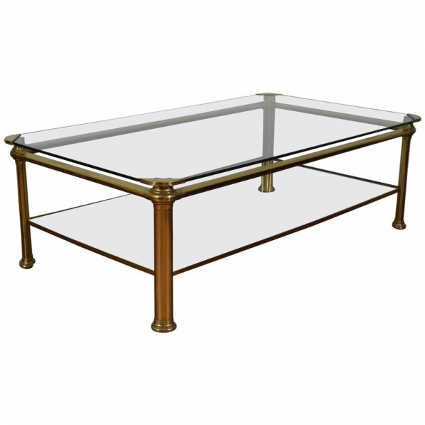 Brass and Glass 2-Tier Coffee Table