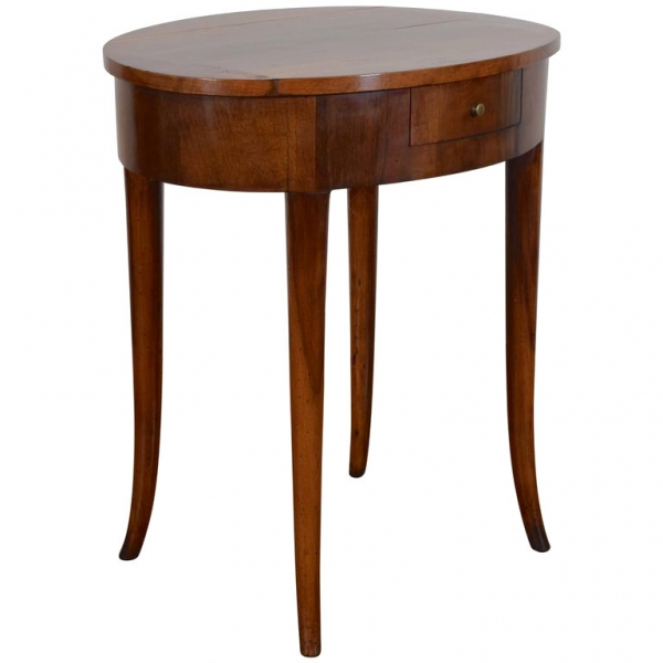 Walnut Oval 1-Drawer Side Table