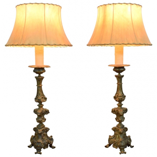 Pair of Patinated Brass Table Lamps