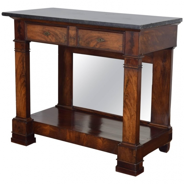 Walnut and Marble-Top Console Table