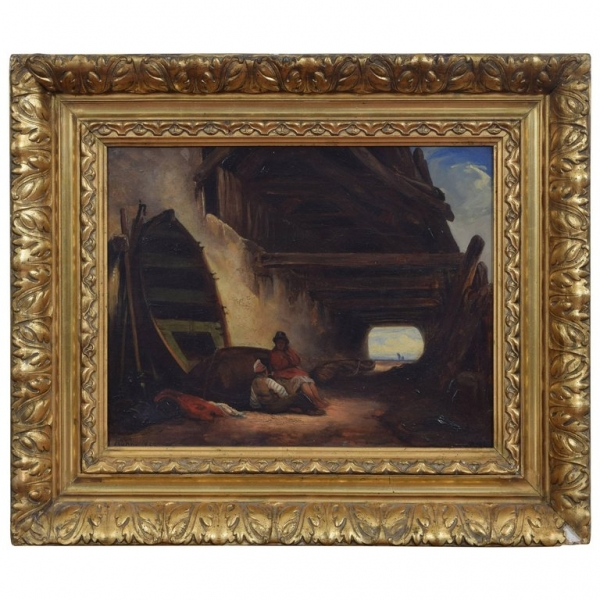 Oil on Canvas of Two Figures Relaxing Under an Eaves