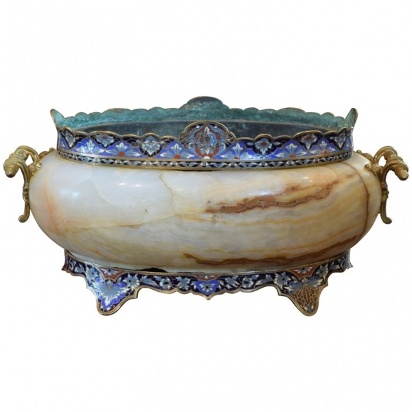Cloisonne on Marble Cachepot