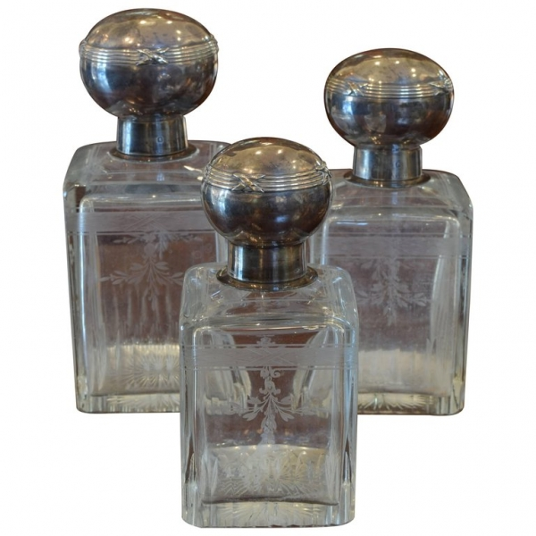 Set of 3 Cut and Etched Glass Decanters with Sterling Silver Tops