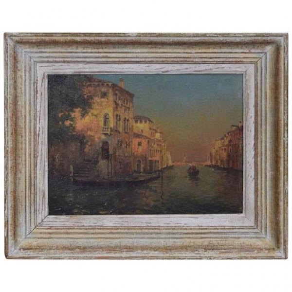Oil on Panel, Signed H. Henri, Venetian Canal Scene