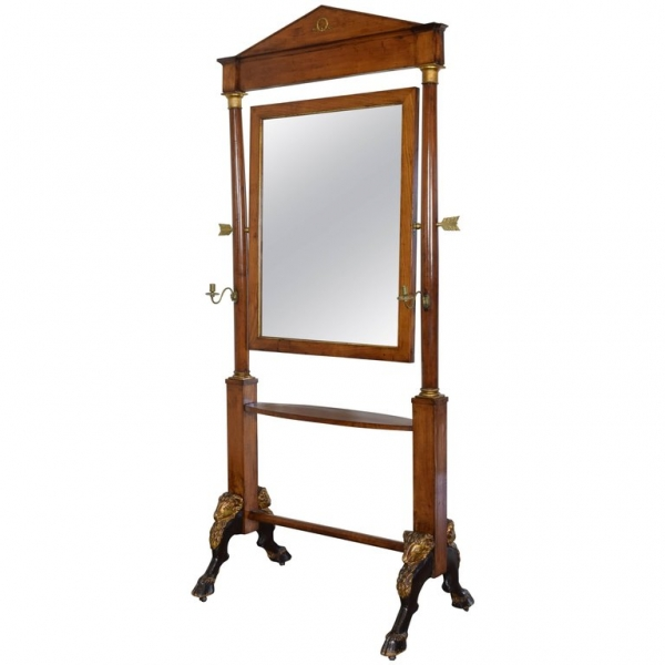 Walnut, Brass and Giltwood Dressing Mirror