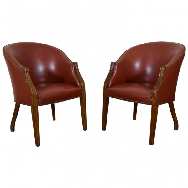 Pair of Upholstered Bucket Chairs