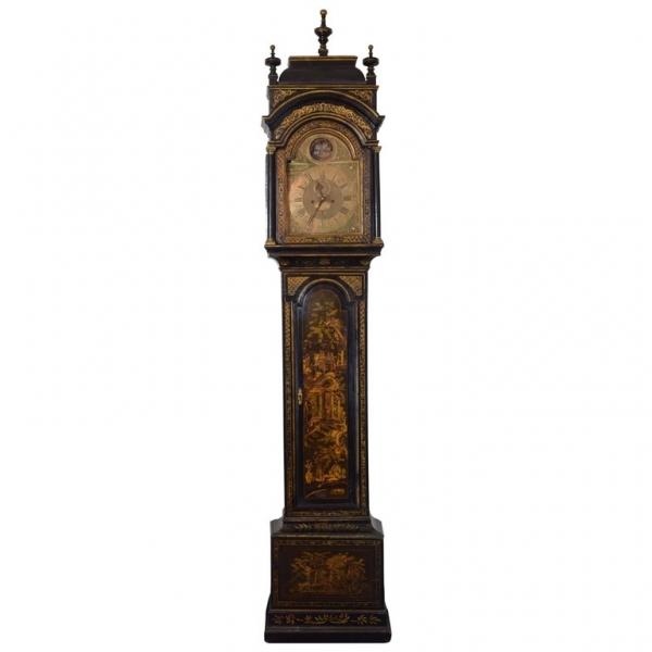 Chinoiserie Black Lacquer Longcase Clock
