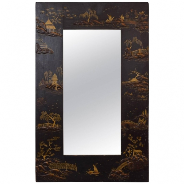 Small Chinoiserie Paint Decorated Wall Mirror