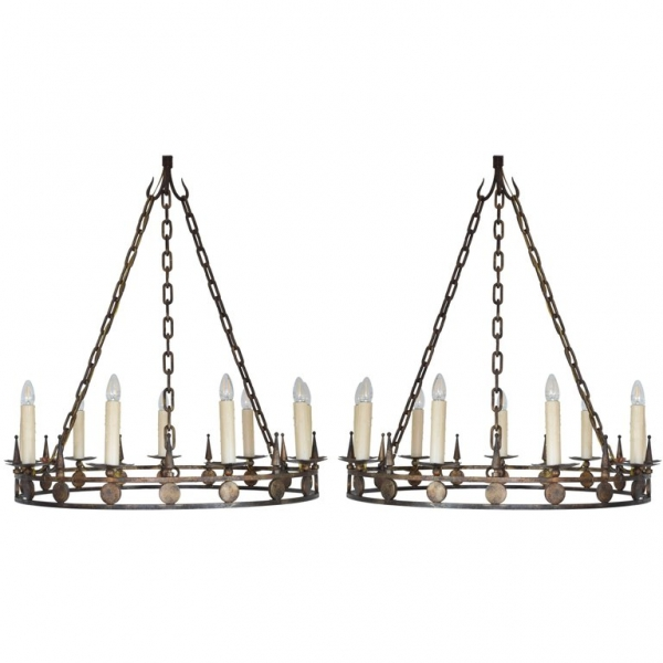 Pair of Large Gilt Painted Iron 9-Light Chandeliers