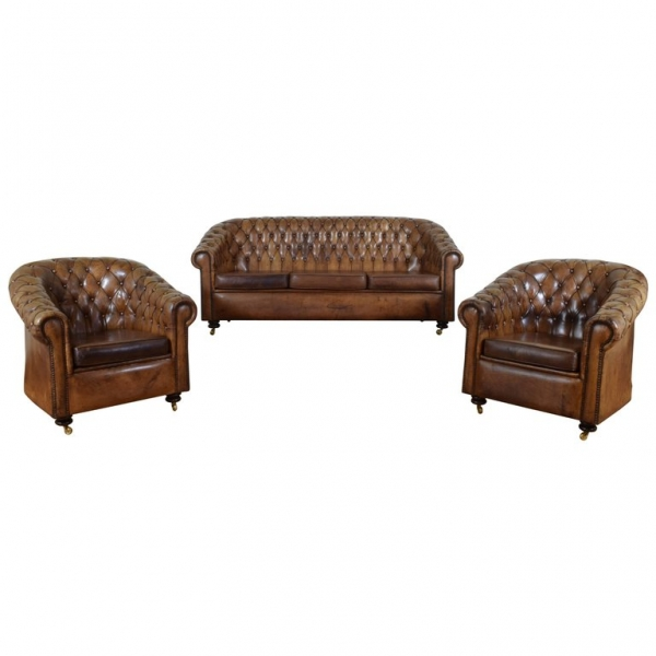 Set of Tufted Leather Chesterfield Style Seating Furniture