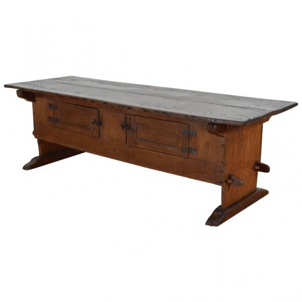 Unusual Oak Rustic Table with Hinged Doors