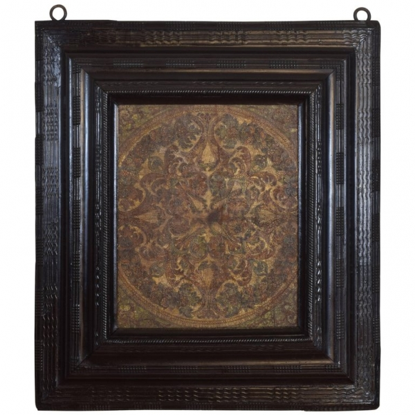 Tooled Leather Panel in Guilloche Ebonized Frame