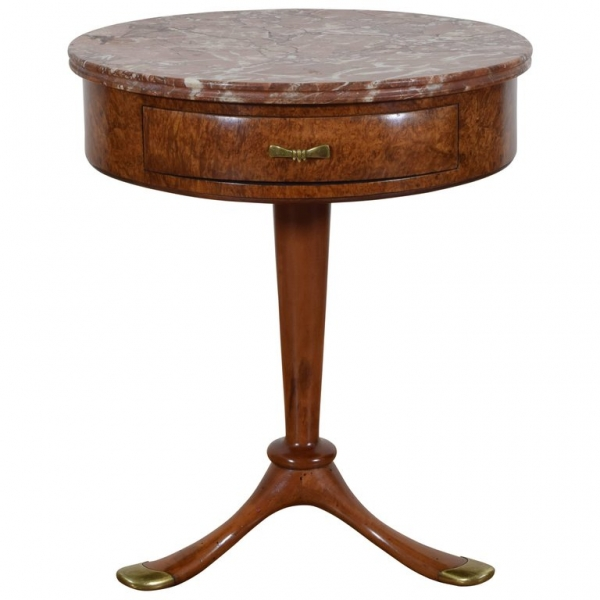 Osvaldo Borsani Side Table in Burl Walnut and Brass with Marble Top