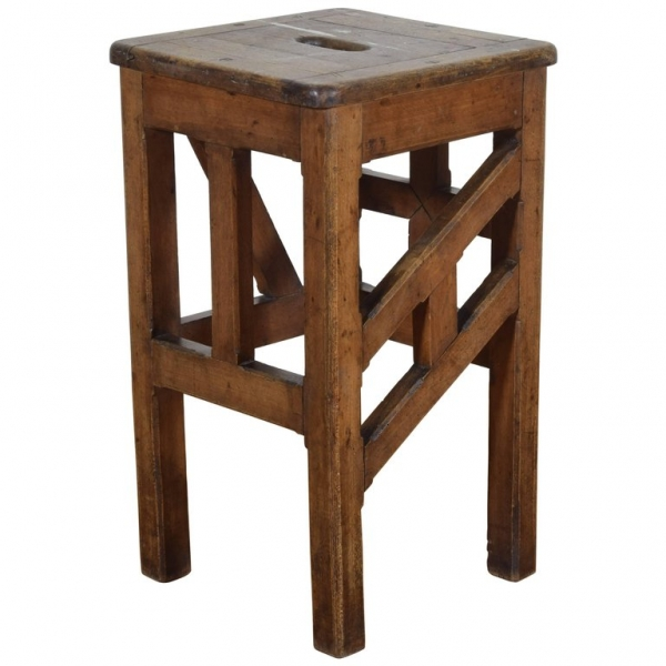 Painter's Stool with 4 Differing Stretchers and Handled Top