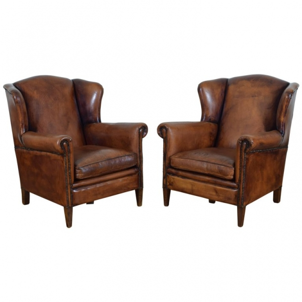 Pair of Cognac Colored Leather Wing Chairs