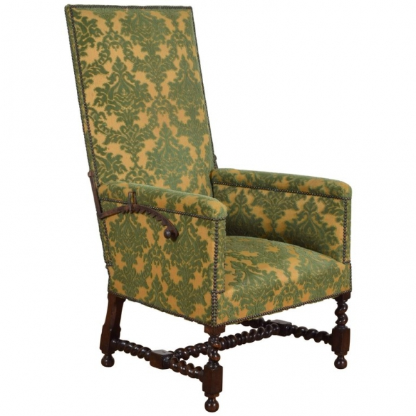Large Dark Oak and Upholstered Bergere Inclinable