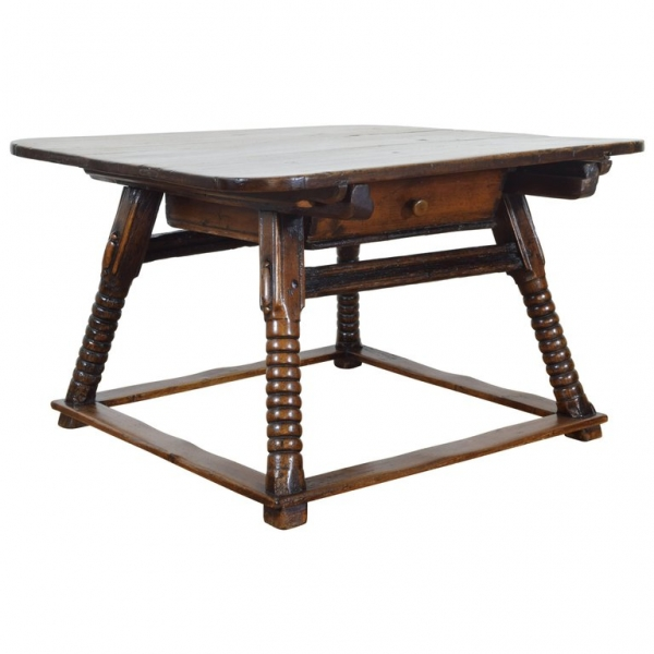 Walnut and Pine Kitchen Table with Large Sliding Drawer