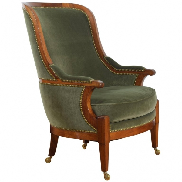 Fruitwood and Upholstered Bergere