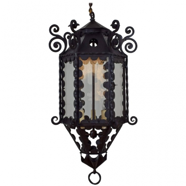 Wrought Iron, Metal, and Glass Lantern